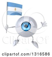 Clipart Of A 3d Blue Eyeball Character Jumping And Holding An Argentine Flag Royalty Free Illustration