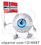 Clipart Of A 3d Blue Eyeball Character Walking And Holding A Norwegian Flag Royalty Free Illustration
