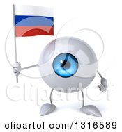 Clipart Of A 3d Blue Eyeball Character Holding A Russian Flag Royalty Free Illustration