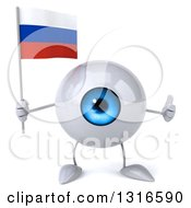 Clipart Of A 3d Blue Eyeball Character Giving A Thumb Up And Holding A Russian Flag Royalty Free Illustration