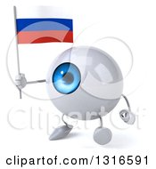 Clipart Of A 3d Blue Eyeball Character Walking Slightly Left And Holding A Russian Flag Royalty Free Illustration