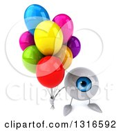 Clipart Of A 3d Blue Eyeball Character Holding Up Party Balloons Royalty Free Illustration