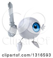 Clipart Of A 3d Blue Eyeball Character Facing Slightly Right Jumping And Holding A Key Royalty Free Illustration