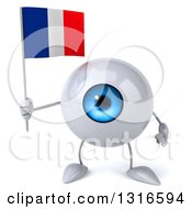 Clipart Of A 3d Blue Eyeball Character Holding A French Flag Royalty Free Illustration
