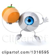 Clipart Of A 3d Blue Eyeball Character Jumping And Holding A Navel Orange Royalty Free Illustration