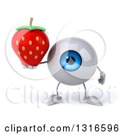 Clipart Of A 3d Blue Eyeball Character Holding A Strawberry Royalty Free Illustration