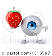 Clipart Of A 3d Blue Eyeball Character Giving A Thumb Down And Holding A Strawberry Royalty Free Illustration
