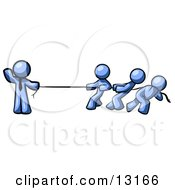 Strong Blue Man Holding One End Of Rope While Three Others Pull On The Other Side During Tug Of War Clipart Illustration