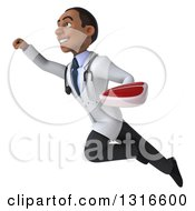 Clipart Of A 3d Young Black Male Nutritionist Doctor Flying Up To The Left And Holding A Beef Steak Royalty Free Illustration