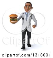 Clipart Of A 3d Mad Young Black Male Nutritionist Doctor Walking And Holding A Double Cheeseburger Royalty Free Illustration