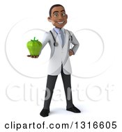 Clipart Of A 3d Young Black Male Nutritionist Doctor Holding Out A Green Bell Pepper Royalty Free Illustration