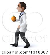Clipart Of A 3d Young Black Male Nutritionist Doctor Walking To The Left And Holding A Navel Orange Royalty Free Illustration