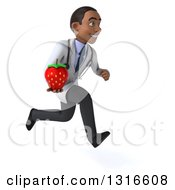 Clipart Of A 3d Young Black Male Nutritionist Doctor Sprinting To The Right With A Strawberry Royalty Free Illustration