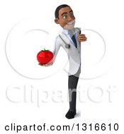 Clipart Of A 3d Full Length Young Black Male Nutritionist Doctor Holding A Tomato And Looking Around A Sign Royalty Free Illustration