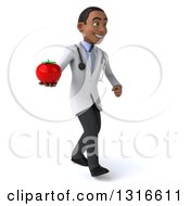 Clipart Of A 3d Young Black Male Nutritionist Doctor Walking To The Right And Holding A Tomato Royalty Free Illustration