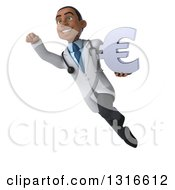 Clipart Of A 3d Young Black Male Doctor Flying With A Euro Currency Symbol Royalty Free Illustration