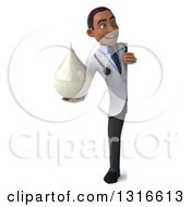 Clipart Of A 3d Full Length Young Black Male Doctor Holding A Lotion Soap Or Milk Drop And Looking Around A Sign Royalty Free Illustration