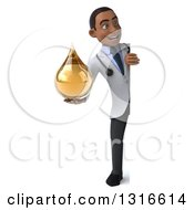 Clipart Of A 3d Full Length Young Black Male Doctor Holding An Amber Tincture Medicine Drop And Looking Around Around A Sign Royalty Free Illustration