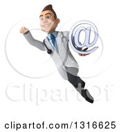 Clipart Of A 3d Young Brunette White Male Doctor Flying And Holding An Email Arobase At Symbol 2 Royalty Free Illustration