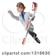 Clipart Of A 3d Young Black Male Dentist Flying And Holding A Giant Toothbrush 4 Royalty Free Illustration by Julos