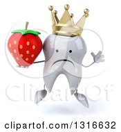 Clipart Of A 3d Unhappy Crowned Tooth Character Jumping And Holding A Strawberry Royalty Free Illustration