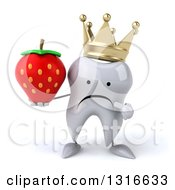 Clipart Of A 3d Unhappy Crowned Tooth Character Holding And Pointing To A Strawberry Royalty Free Illustration
