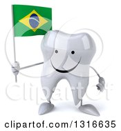 Clipart Of A 3d Happy Tooth Character Holding A Brazilian Flag Royalty Free Illustration