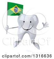 Clipart Of A 3d Happy Tooth Character Jumping And Holding A Brazilian Flag Royalty Free Illustration