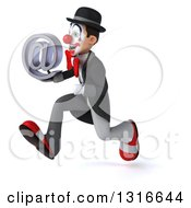 Clipart Of A 3d White And Black Clown Sprinting To The Left And Holding An Email Arobase At Symbol Royalty Free Illustration