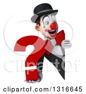Clipart Of A 3d White And Black Clown Holding A Question Mark And Looking Around A Sign Royalty Free Illustration