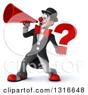 Clipart Of A 3d White And Black Clown Holding A Question Mark And Announcing To The Left With A Megaphone Royalty Free Illustration