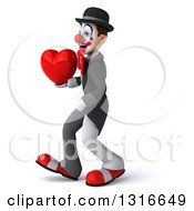 Clipart Of A 3d White And Black Clown Walking To The Left And Holding A Heart Royalty Free Illustration