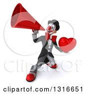 Clipart Of A 3d White And Black Clown Holding A Heart And Announcing Upwards With A Megaphone Royalty Free Illustration