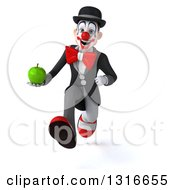 Clipart Of A 3d White And Black Clown Sprinting And Holding A Green Apple Royalty Free Illustration