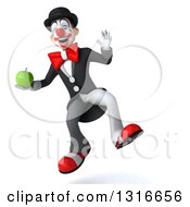 Clipart Of A 3d White And Black Clown Jumping And Holding A Green Apple Royalty Free Illustration