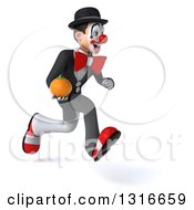 Clipart Of A 3d White And Black Clown Sprinting To The Right And Holding An Orange Royalty Free Illustration