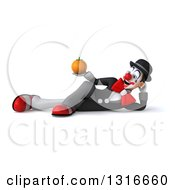 Clipart Of A 3d White And Black Clown Resting On His Side And Holding An Orange Royalty Free Illustration