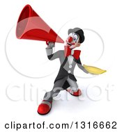 Clipart Of A 3d White And Black Clown Holding A Banana And Announcing Upwards With A Megaphone Royalty Free Illustration