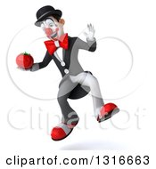 Clipart Of A 3d White And Black Clown Jumping And Holding A Tomato Royalty Free Illustration
