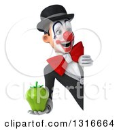 Clipart Of A 3d White And Black Clown Holding A Green Bell Pepper And Looking Around A Sign Royalty Free Illustration