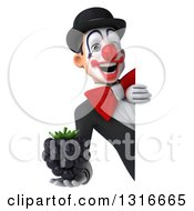Clipart Of A 3d White And Black Clown Holding A Blackberry Around A Sign Royalty Free Illustration