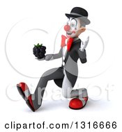 Clipart Of A 3d White And Black Clown Speed Walking To The Left Waving And Holding A Blackberry Royalty Free Illustration