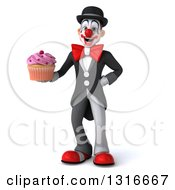 Clipart Of A 3d White And Black Clown Holding A Pink Frosted Cupcake Royalty Free Illustration