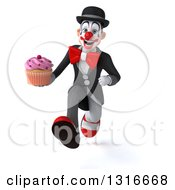Clipart Of A 3d White And Black Clown Sprinting And Holding A Pink Frosted Cupcake Royalty Free Illustration