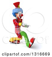 Clipart Of A 3d Colorful Clown Walking And Pointing To The Right Royalty Free Illustration