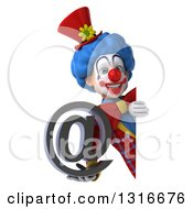 Clipart Of A 3d Colorful Clown Holding An Email Arobase At Symbol Around A Sign Royalty Free Illustration