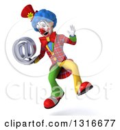 Clipart Of A 3d Colorful Clown Jumping And Holding An Email Arobase At Symbol Royalty Free Illustration