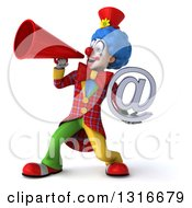 Clipart Of A 3d Colorful Clown Holding An Email Arobase At Symbol And Announcing With A Megaphone Royalty Free Illustration