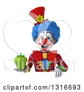 Clipart Of A 3d Colorful Clown Holding A Green Bell Pepper Over A Sign Royalty Free Illustration