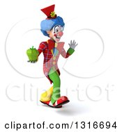 Clipart Of A 3d Colorful Clown Walking To The Right Waving And Holding A Green Bell Pepper Royalty Free Illustration